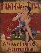 Blechschild  - Handbag Diva  -  20 cm x 25 cm- Nostalgieschild