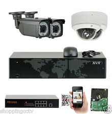 8 Channel NVR 5MP (4) Varifocal HD 1920p 1080p PoE IP Security Camera System