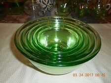 "Green Depression Glass set of 5 Mixing bowls NEST Size 5""-9"" bowls"