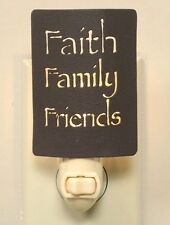 Primitive new rustic Faith Family Friends night light w/adapter and bulb / nice