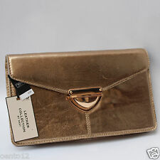 NEW NEXT LEATHER COLLECTION DISTRESSED GOLD CLUTCH BAG EVENING OCCASION PURSE