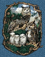 Springs Whoo Gives a Hoot Wallhanging Panel OWLS  Cotton Fabric BTY FREE US SHIP