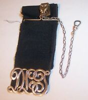ANTIQUE GF GOLD FILLED RIBBON INITIAL POCKET WATCH CHAIN FOB BATES & BACON