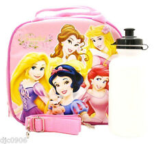 Walt Disney Princess and Friends Lite Pink Lunch Bag with Water Bottle-New w/Tag