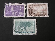 *FINLAND, SCOTT # 280+281/282(2), CASTLE TYPE+WORLD FORESTRY 1949 ISSUES USED