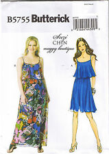 Easy Suzi Chin Overlay Spaghetti Strap Sun Dress Sewing Pattern Sz 6 8 10 12 14