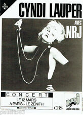 PUBLICITE ADVERTISING 016  1987  Cyndi Lauper en concert Zénith Paris NRJ radio