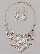 Gold Purple and Multi Colored Faux Opal Bib FASHION Necklace Set