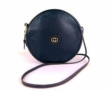 100% Authentic GUCCI GG Leather Round Shape Shoulder Bag Navy Made In Italy