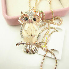 Women Fashion Vintage Opal Crystal Owl Pendant Necklace Long Chain  Jewelry 1Pc