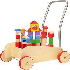 Lauflernwagen Bausteine Bauklötze Kinder Gehhilfe Holz Lauflernhilfe Baby Walker