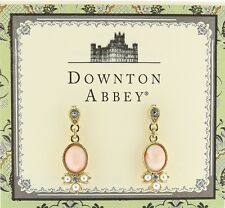 Downton Abbey Gold Tone Rose Stone Peach Pearl & Crystal Drop Earrings 18045 NIB