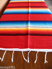 Serape ONWS-Red Blanket Table Cover Seat Cover Throw Mexican Design 5' X 7'