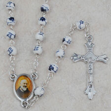 Catholic ROSARY - Round  6 mm Ceramic beads with St. Padre Pio center piece- NEW