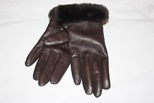UGG® Australia Cashmere Lined Leather Gloves with Shearling Cuffs Brown Medium