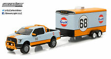 Greenlight 1:64 Hitch & Tow 7 2015 Ford F-150 Gulf Oil #66 and Car Hauler