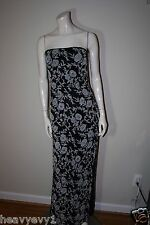 Andretta Donatello Black/White Strapless Beaded Floral Print Dress Size S
