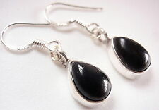 Black Onyx Dewdrop Earrings 925 Sterling Silver Dangle Drop 3.75ct Teardrop New