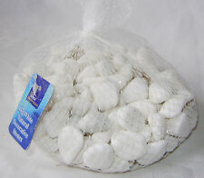 NEW WHITE NATURAL DECORATIVE STONES PEBBLES 1KG IN NET DINA
