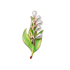 Exquisite Nice Glass Pearls Flower Green Leaf Pin Brooch