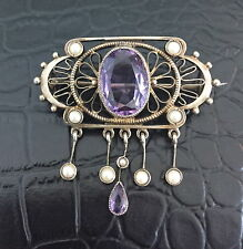 Elegant Vintage 900 Silver Filigree Amethyst Seed Pearls Dangle Pin Brooch