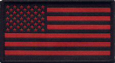 American Flag USA Stars and Stripes Black and Red Badge Patch 8cm x 4.5cm