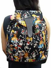 US HANDMADE BACKPACK  STYLE WITH SKULLS  DAY OF THE DEAD PATTERN WITH ADJUSTABLE