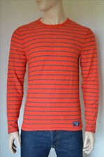 NEW Abercrombie & Fitch Long Sleeve Striped Crew Tee T-Shirt Orange Brick Red S