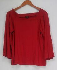 Iman Top M Stretch Knit Convertible 3/4 Sleeve Smocked Tee Red