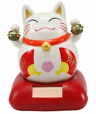 Dancing Japanese Fortune Lucky Cat Red Base Bib Solar Toy Home Decor US Seller