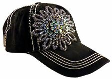 Olive and Pique Super Bling Ball Cap! Glass Beaded Flower, Quilted Front!!