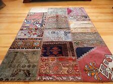 Vintage Rugs Patchwork Carpet Handmade Turkish Anatolian Patchwork Rug 5' x 6'6""
