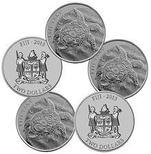 2013 1 oz Silver New Zealand $2 Fiji Taku Coins - 5 oz Total (.999 BU, Lot of 5)