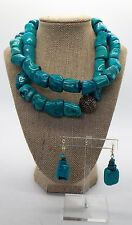STUDIO BARSE Chunky Statement Turquoise Necklace + Earrings Set NEW w/ Box