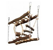 Hamster Toy BRIDGE CLIMBING FRAME Real Wood Rope Toy Suspension Bridge 27×17×7cm