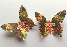 12 Happy Easter Spring Tulips Flowers Wafer Paper Butterflies Cupcake Toppers