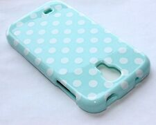 For Samsung Galaxy S4 - HARD PROTECTOR SKIN CASE COVER MINT BLUE POLKA DOTS