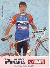 CYCLISME carte cycliste BRAMATI DAVIDE équipe CERAMICA PANARIA VINAVIL 96 signée