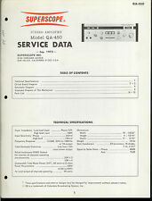 Orig Factory Superscope/Marantz QA-450 Stereo Amplifier Amp Service Data Manual