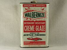 Vintage Automobilia 1950's Auto Car Wax Glaze Polish Walbernize Can Gas Station