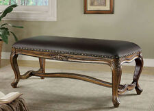 Traditional Brown Faux Leather Upholstered Bench by Coaster 501006