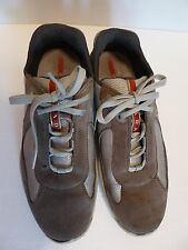 Prada Silver Gray Nylon Beige Suede Low Shoes Sport Sneakers Mens Size 7.5 US