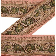 Vintage Sari Border Antique Hand Embroidered 1 YD Indian Trim Sewing Peach Lace