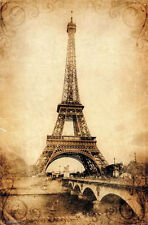 EIFFEL TOWER VINTAGE - ART POSTER - 22x34 SCENIC PARIS FRANCE 13411