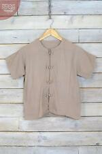 Vintage Brown High Neck Peasant Blouse (M)