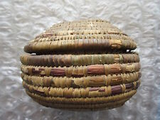 Old Vintage Oval Covered Woven Basket