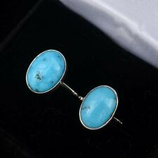 Turquoise Oval Cuff Links Native Made Unisex Accessories