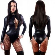 Sexy Lingerie PVC Goth Punk Vinyl Blk Wetlook Overall Catsuit clubwear 1066