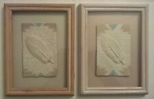 Set of 2 Southwest Paper Art Picture, Hand Cast Paper feather ,by Figi Graphics
