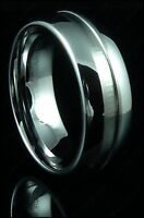 Mens Tungsten Carbide Ring Grooved Engraved Mirrored Plain Wedding Band